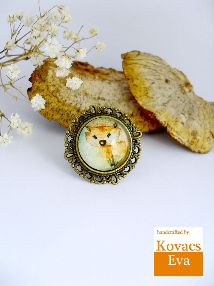 Fox ring.Woodland ring.Handpainted ring.Aquarell ring.Woodland jewelry.