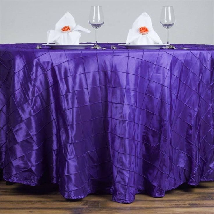 """Purple Pintuck Tablecloths 120"""" Round - Pintuck is actually a fold of fabric that is stitched intricately to hold it in a place, very much like a pleat. These lovely pleats impart a decorative effect to the fabric by fashioning a visual line at a chosen point. They effortlessly bridge vintage and contemporary styles to create a majestic new classic look. If you do not want your celebration to blend in with other weddings, birthdays, and anniversaries, try our premium quality pintuck…"""