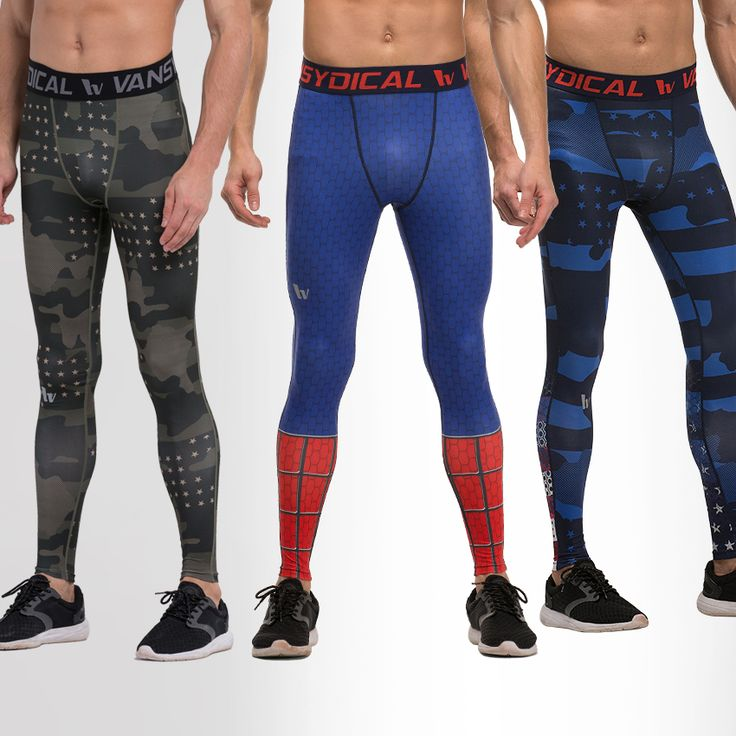 Men Printing Skinny Training Compression Leggings Long Pants Quick Dry Breathable Fitness Jogging Trousers Running Pants
