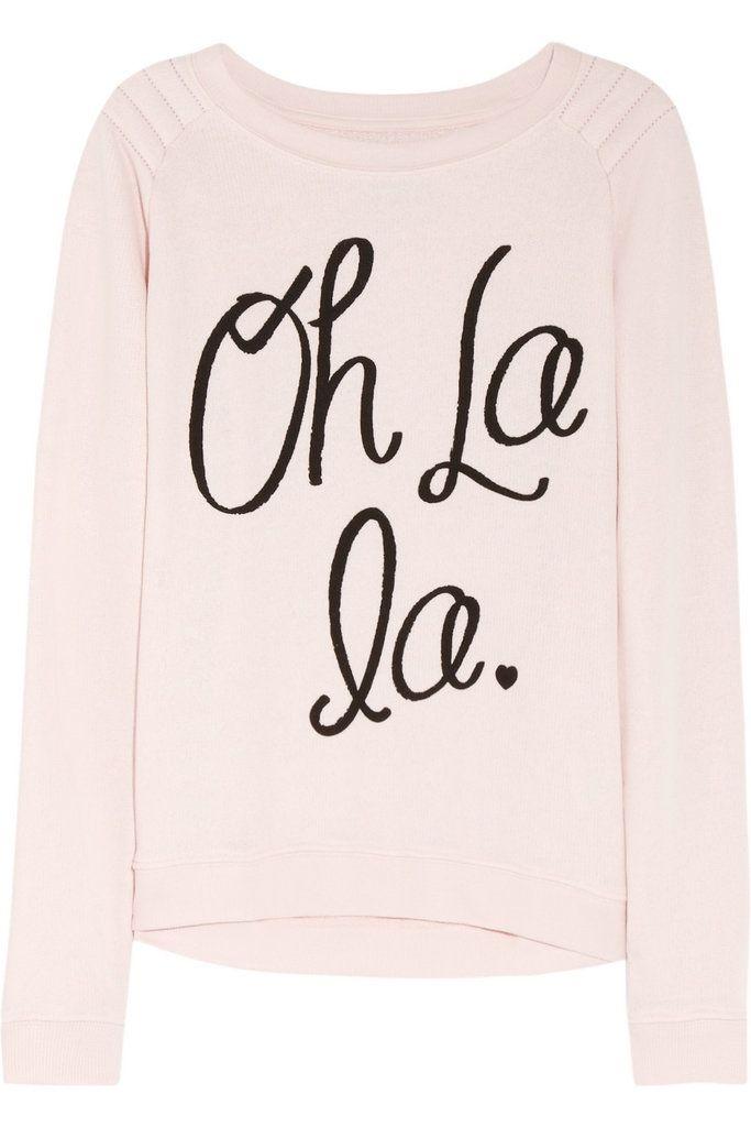 "Zoe Karssen ""Oh La La"" Sweatshirt: Zoe Karssen's Oh La La Sweatshirt ($160) is a great gift for the Francophile — or fashion lover — in your life.  #houseofsquirrels  #fashion #stylesquirrel"