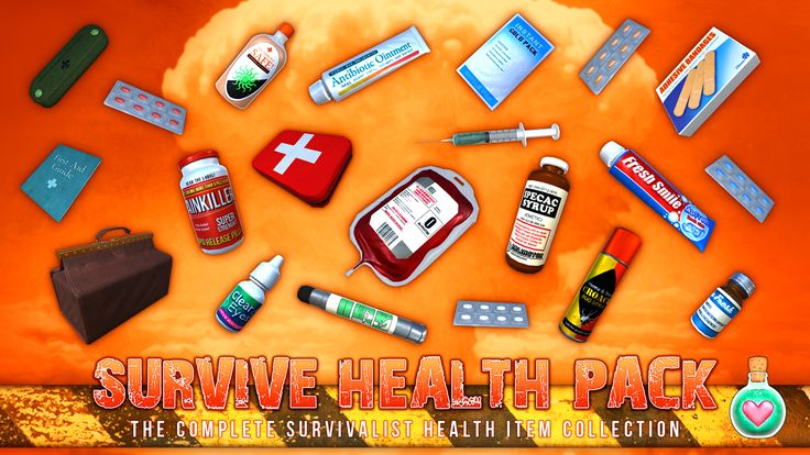 SURVIVAL HEALTH PACK (Unity Asset Store): This extremely affordable package contains 20 survivalist health items. All made with love and care! From Painkillers to Toothpaste - this pack has everything you need to survive the Apocalypse! Buy it here: http: