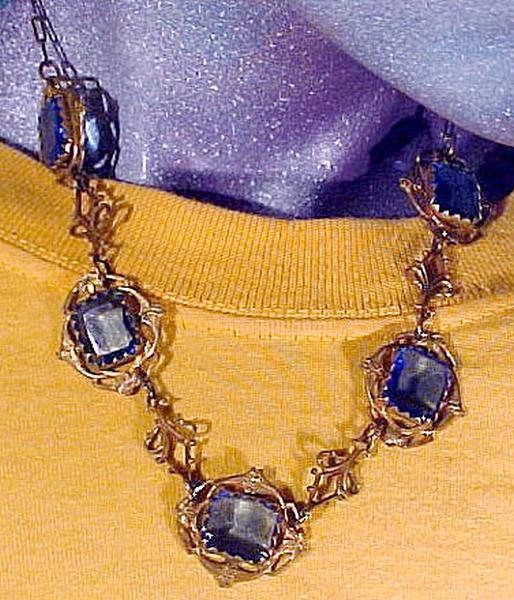 Art Nouveau Gilt Brass & Blue Crystal Necklace 1910 1920