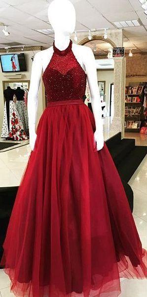 Halter Backless Beading Ball Gown Tulle Prom Dresses 2017