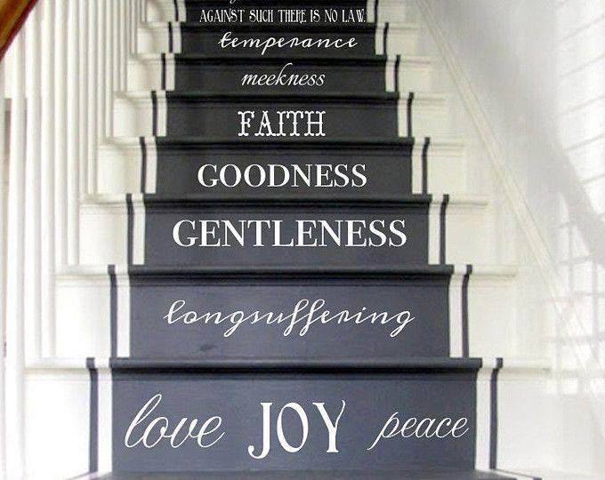 Vinyle autocollant Fruit de l'esprit d'escalier Stickers Galates 05:22-23 escalier Riser Decal escalier autocollant Christian Art spirituel Decor KJV