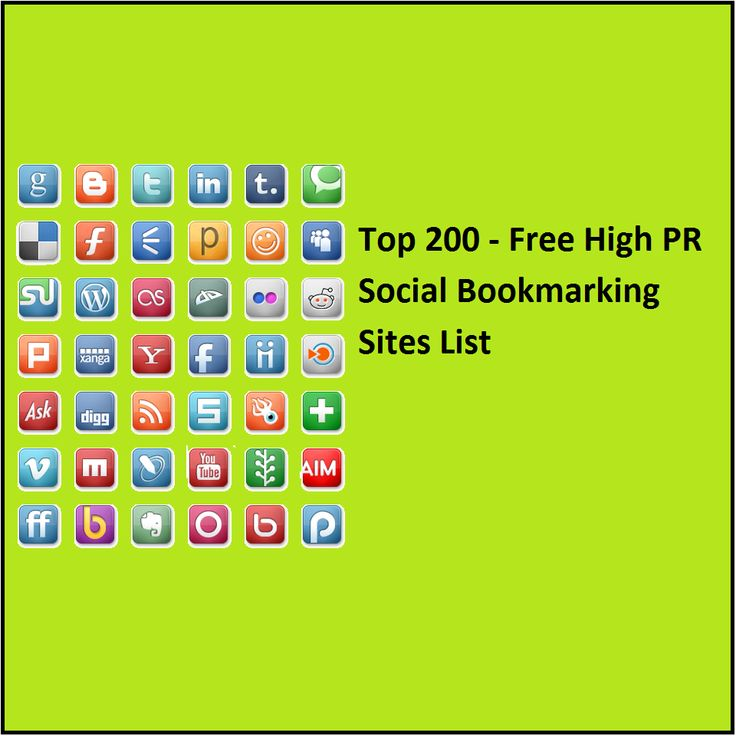 Social Bookmarking is very important role in Search Engine Optimization (SEO). Here is the complete lists of Free High PR Social Bookmarking Site Lists. http://www.onlinewebidea.com/top-200-free-high-pr-social-bookmarking-sites-list/