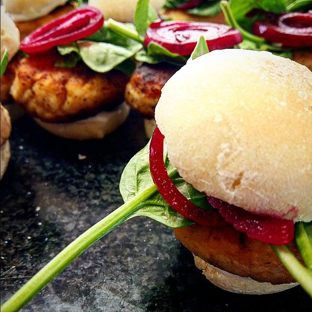 Canape - Angelfish Sliders with Pink Pickled Onions, baby Spinach and Aioli