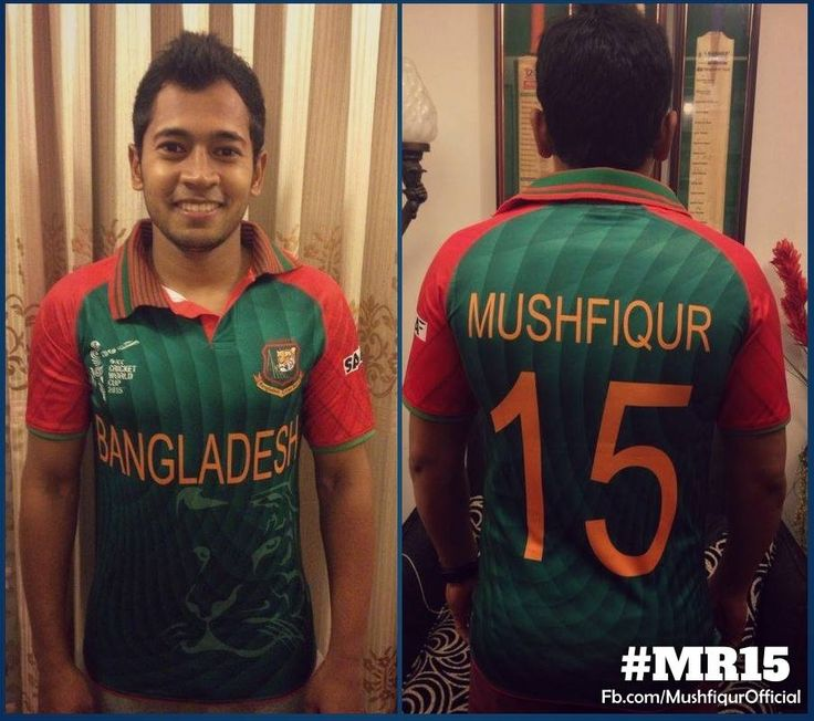 the skipper of Bangladesh National Cricket Team - Mushfiqur Rahim - in the new jersey for the ICC World Cup 2015 Australia-New Zealand
