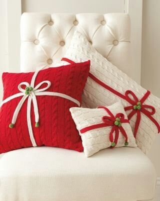 Nice as gifts or decorations. Could make the ribbon, bells, flowers, etc removable to seasonally decorate for these sweater pillows or for any pillow really :)