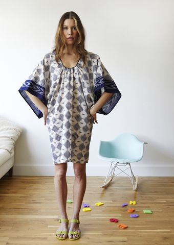 ISHA DRESS    JAPANESE INSPIRED COTTON SARI DRESS    A CHIC LOOK EVERYDAY    STYLE: ISHA    COLOR: BLUE/Cream Ikat Diamond Saree