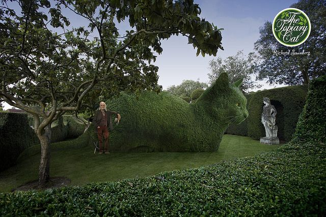 The Topiary Cat and his Master visit Hatfield House.: