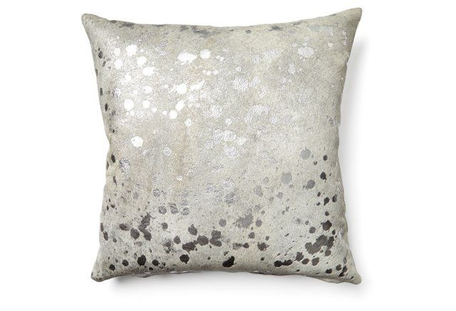 Splash Cowhide Pillow, Silver