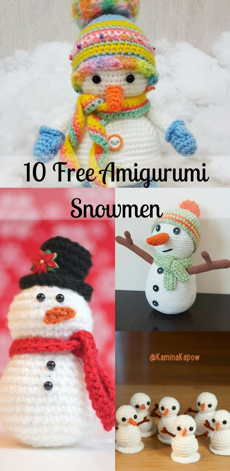 Free crochet amigurumi snowmen. Try it!