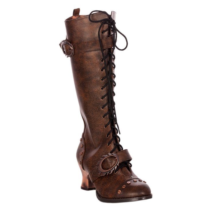 Brown Flame Design Steampunk Boots