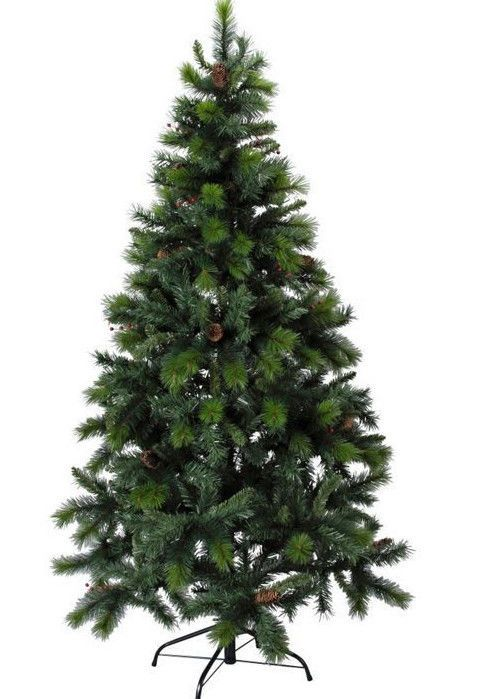 5ft 6ft 7ft artificial green christmas tree with cones and berries xmas