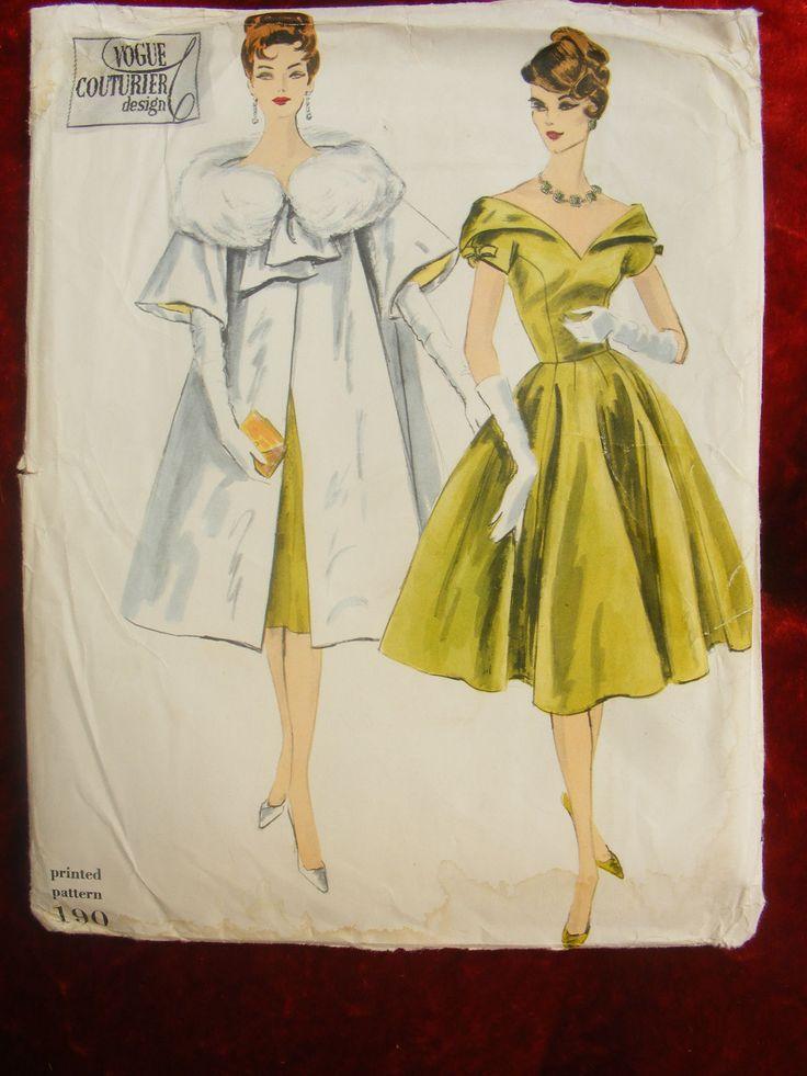 Uncut 1959 Vogue Couturier Design Pattern 190 Evening Dress Amp Coat | eBay