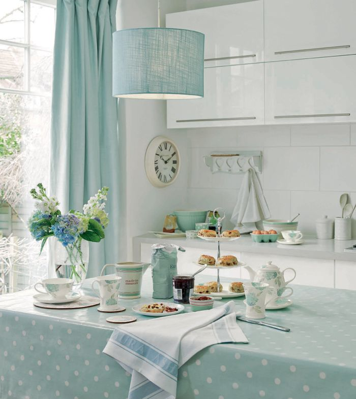 Duck egg blue polka-dot tablecloth, curtains and drum shade pendant light