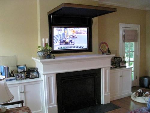 Hiding A Flat Panel Tv Above A Fireplace For The Home Pinterest