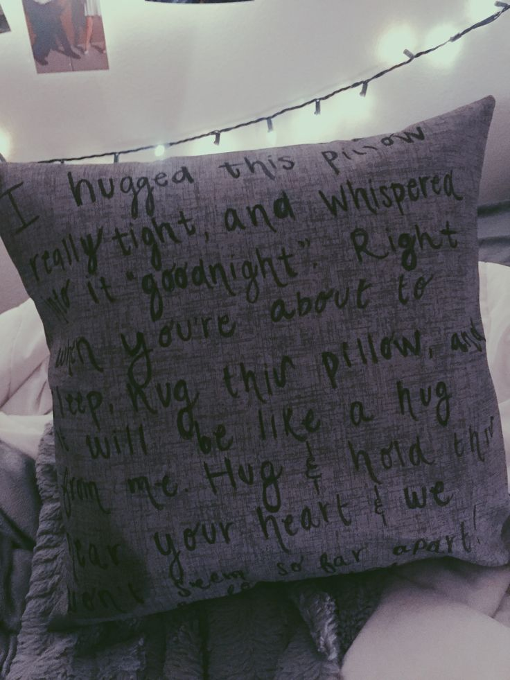Long distance pillow quote! For all those long distance relationship lovers - give this to your partner to sleep with at night. personalize it for extra affection!