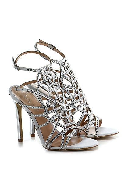 CHON - Sandalo alto - Donna - Sandalo alto in camoscio con doppio cinturino alla caviglia e strass su tomaia. Suola in cuoio, tacco 120 effetto laminato. - ICE - € 345.00