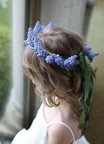Muscari flower crown for a spring wedding flower girl