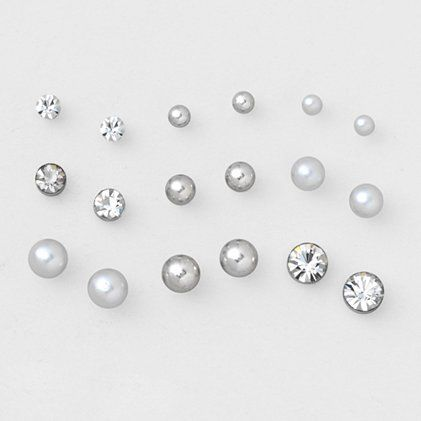 Crystal and Pearls Magnetic Earrings Set of 9 | Claire's