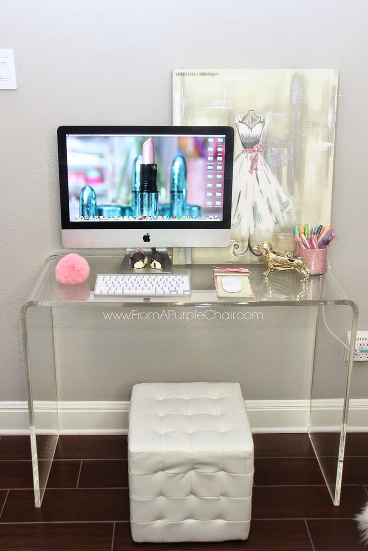 Beauty Room/Office Update // love the clear desk from CB2 and the iMac desk idea