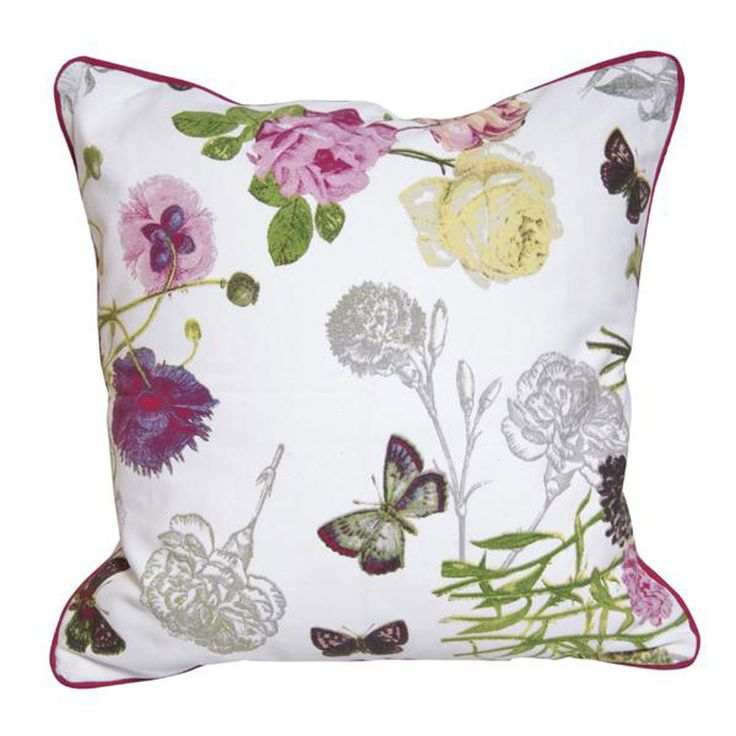 Gripsholm Paradiso kuddfodral är ett härligt blommönstrat kuddfodral med både blommor och fjärilar på.Storlek: 50x50cm Kuddfodral: 100% bomull Färg, Vit,multiStil: Lantligt