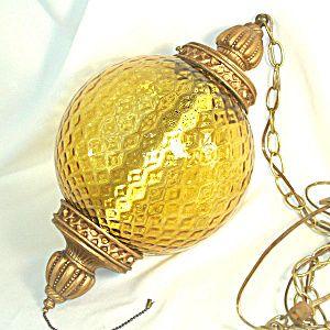 elegant midcentury yellow gold glass hanging swag lamp