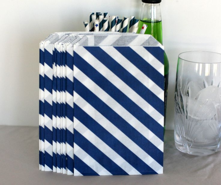 Navy blue party bags in a diagonal stripe by talkingtwineandtrim, 2 ...