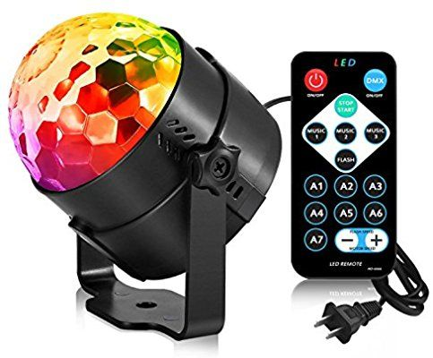 Disco Ball Party Strobe Light, AOMEES 3W Sound Activated