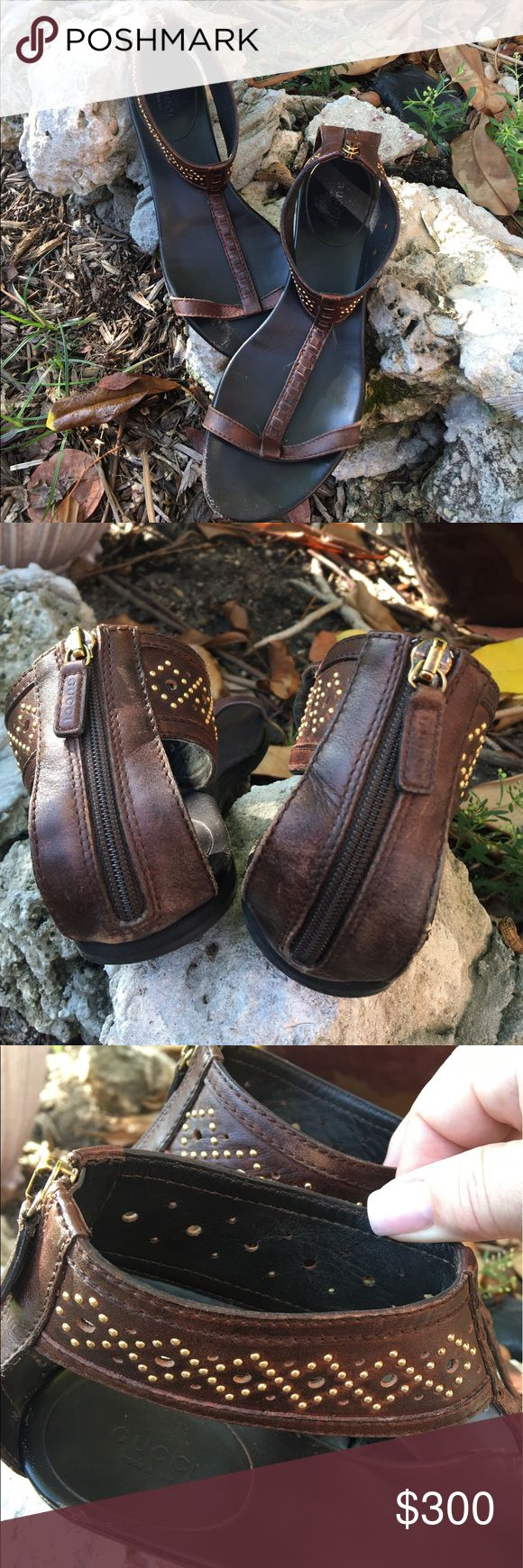 """🆕 💯% authentic Gucci flat gladiator sandals 💯Authentic Gucci flat brown leather w/ gold round stud detailing at ankles Zipper at back. ONLY signs of wear at the toe & small one on inside by heel when your foot is in them you can't see it. See pix Size marking is not on them- they measure 10.5"""" which by Gucci website is size 11 (all forums on shoe sizing for Gucci state they run 1/2 size large. My daughter wears a 10 US and they fit so guessing 10-10.5 US. PRICE IS FIRM NO OFFERS NOT…"""