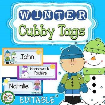 Do you need EDITABLE name tags for your tables, cubby, lockers or bins?  These colorful designs will brighten your classroom this winter.  Designs include children with different hair and skin dressed in the winter gear ready to skate or make snowman.
