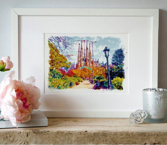 La Sagrada Familia Barcelona Watercolor painting by Artsyndrome
