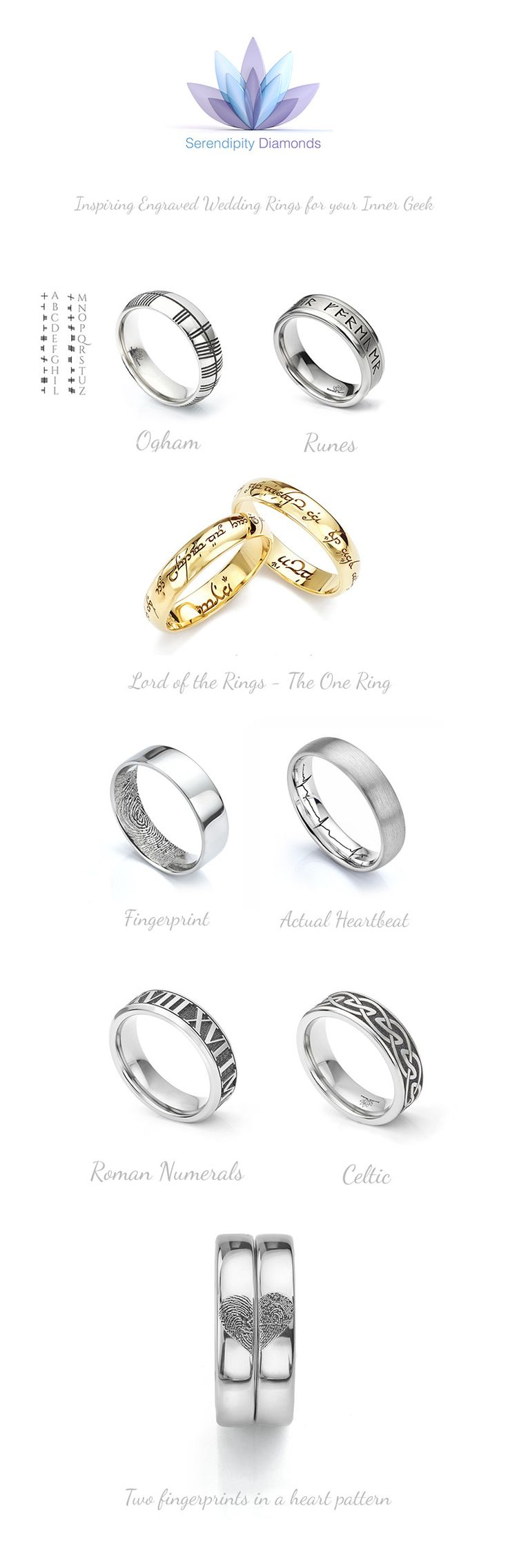 Unusual wedding rings for your inner geek. Browse a collection of talk to us about creating your own bespoke wedding ring. We engrave runes, fingerprints, heartbeats, heart pattern fingerprints, and Elvish onto any of our wedding ring styles. Contact us today to create your very own personalised wedding rings.