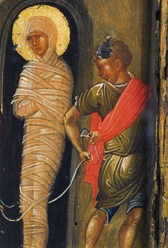 Воскрешение Лазаря. Византийская икона конца XIV - начала XV века. Фрагмент - Св. Лазарь и иудей.
