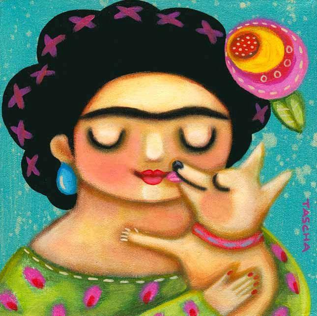 kisses FRIDA Kahlo with CHIHUAHUA dog folk art painting poster PRINT by artist tascha. $15.00, via Etsy.