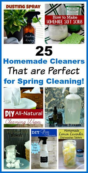 25 DIY Cleaners That are Perfect for Spring Cleaning!- Save money and have a chemical-free spring cleaning this year by making some homemade cleaners! This list includes DIY cleaners for virtually everything!   homemade cleaning products, cleaning product recipes, glass cleaner, dusting spray, all-purpose cleaner, toilet cleaning bombs, dishwasher tablets