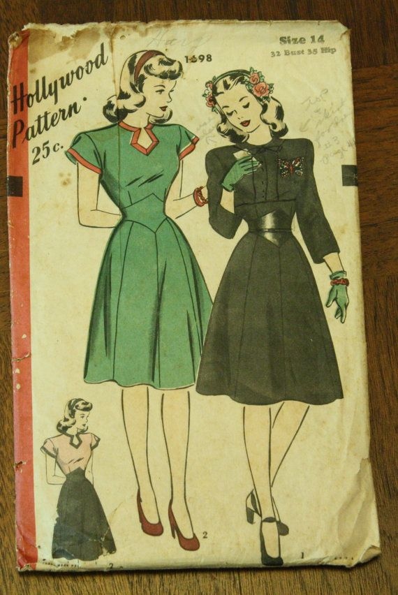 Hollywood 1698 1940s 40s Day Dress Sewing by EleanorMeriwether, $10.00