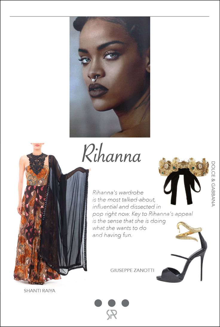 #CelebCrush Rihanna Rihanna has made a name for herself in the fashion scene as a daring dresser with a diverse range of tastes. Often snapped by street style paparazzi and red carpet shutterbugs, her ensembles–both casual and high-end–never fail to impress.  For more information on our services and collection, log onto:  www.shanti-raiya.com