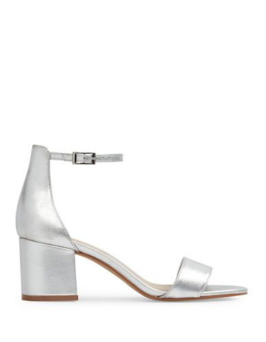 Shoes | Shoes | Villarosa Low Block Heel Metallic Leather Sandals |  Hudson's Bay