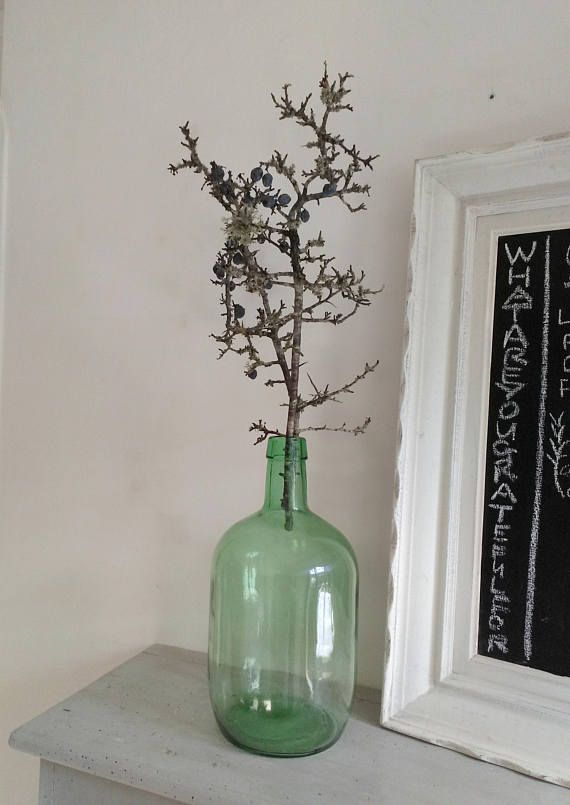 3 litre Green Demijohn, dame jeanne, French vintage bottle,