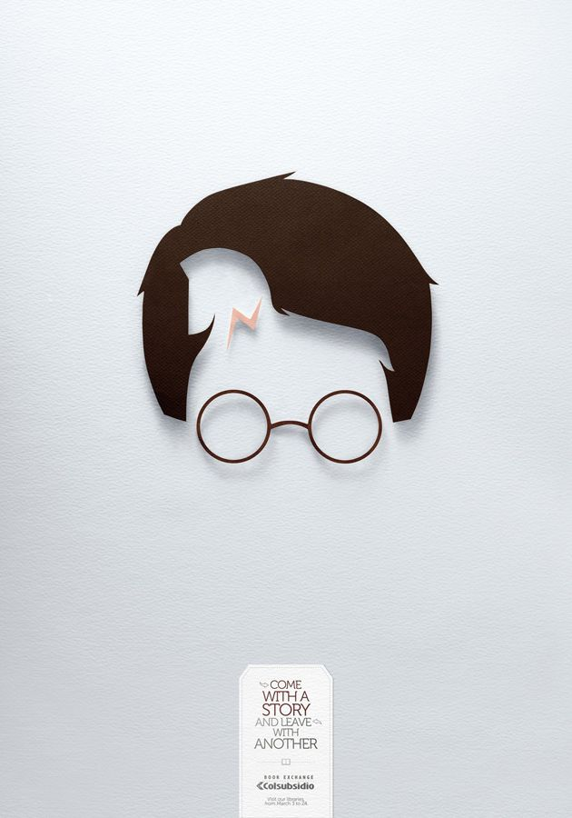Colsubsidio Book Exchange: Harry Potter and Troy.  Colsubsidio worked with Lowe/SSP3, an ad agency in Bogota.
