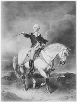 George Washington and Nelson  ~  President Washington's beloved horse, Nelson, was a gift from his friend Thomas Nelson. (U.S. National Archives)