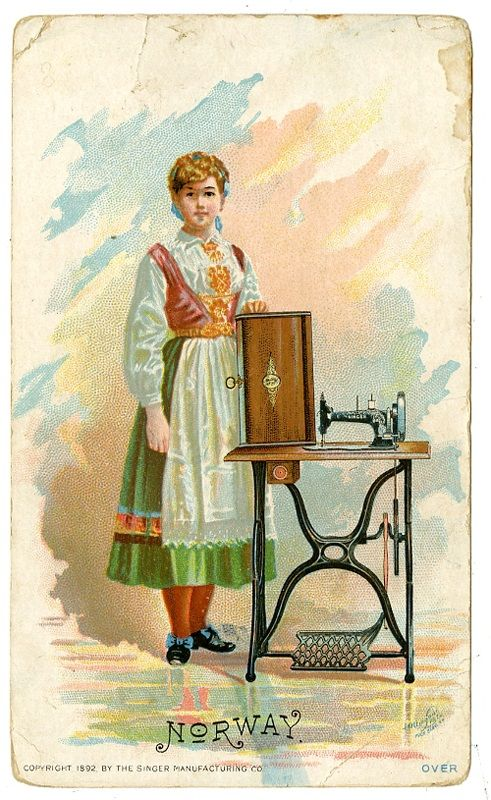 Singer Sewing Machine's World, 1892, Norway Trade Card.  Machine sewing on a bunad indicated wealth.
