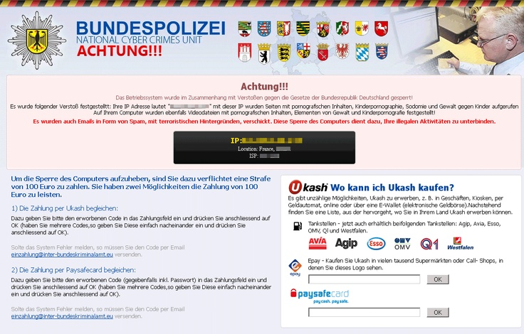 Get rid of Bundespolizei National Cyber Crimes Unit Ransomware http://www.enigmasoftware.com/bundespolizeinationalcybercrimesunitransomware-removal/