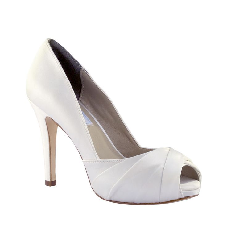 "Sexy 3 1/2"" High Heel White Silk Satin Wedding Bridal Prom Pumps Shoes  #LizRen #OpenToe #BridalorWedding"