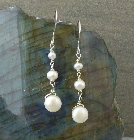 Freshwater Pearl Earrings Sterling Silver/ Bridal Jewellery/ Gift for Her