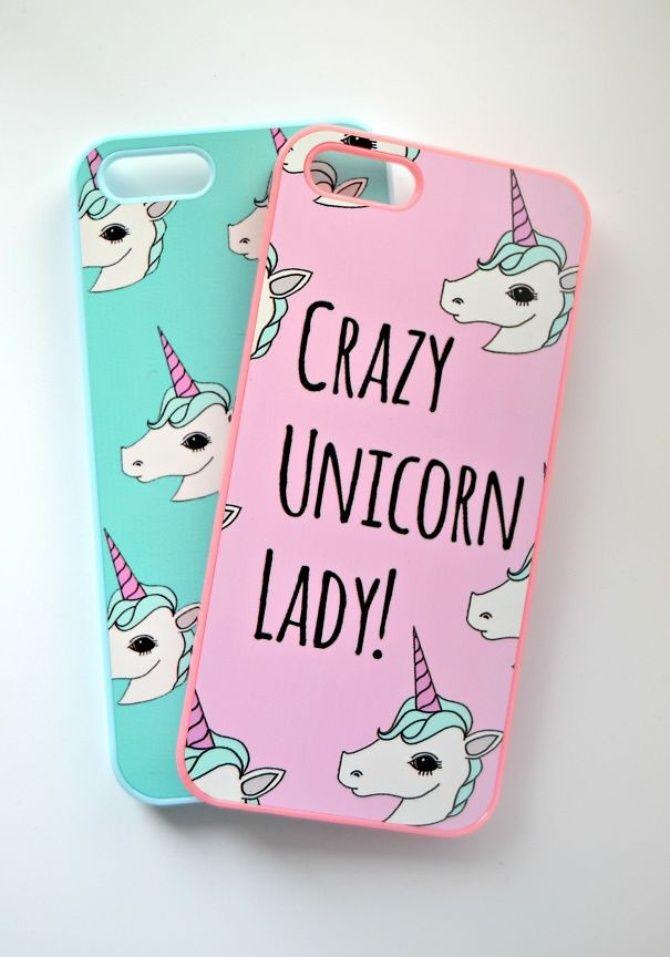 Funda para celular unicornio rosa y verde