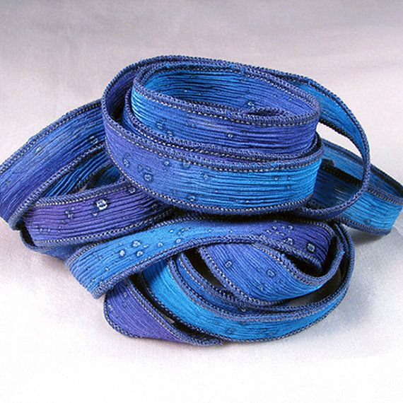 Hand Dyed Silk Ribbons - Crinkle Hand Painted Silk Jewelry Bracelet - Fairy Ribbons - Starry Night Sparkle - Quintessence