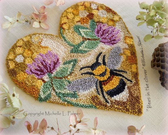 Bees in the Clover Punch Needle Embroidery DIGITAL Jpeg and PDF PATTERN Michelle Palmer